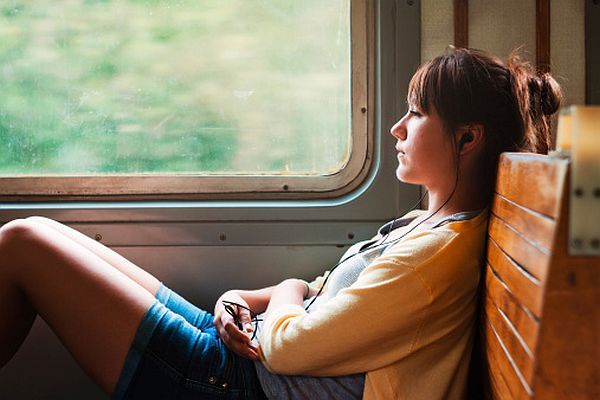 lady in train