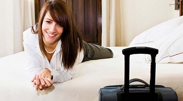 lady staying in hotel